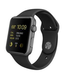 Watch Series 1 Aluminum (42mm), Black Silicone